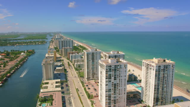 aerial hollywood south central beach, fl - hollywood florida stock videos & royalty-free footage