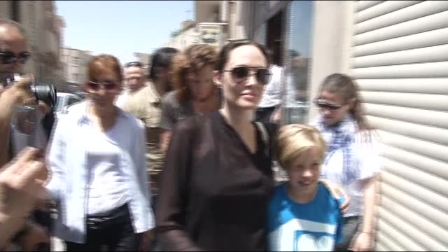 hollywood star and un high commissioner for refugees goodwill ambassador angelina jolie shops in turkey's southeastern province of mardin where she... - angelina jolie stock videos & royalty-free footage