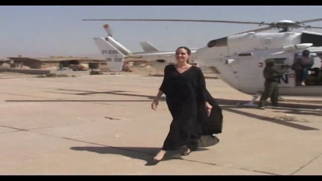 Hollywood star Angelina Jolie visits Syrian refugees in Iraq as part of a tour of refugee camps on Syria's borders Dohuk Iraq