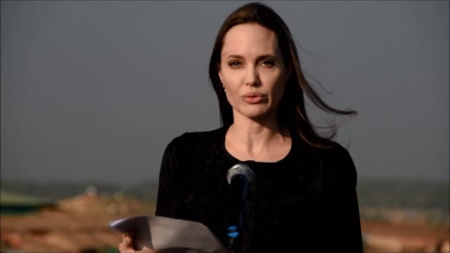 hollywood superstar angelina jolie says that myanmar must show genuine commitment to end violence that has driven hundreds of thousands of rohingya... - angelina jolie stock videos & royalty-free footage