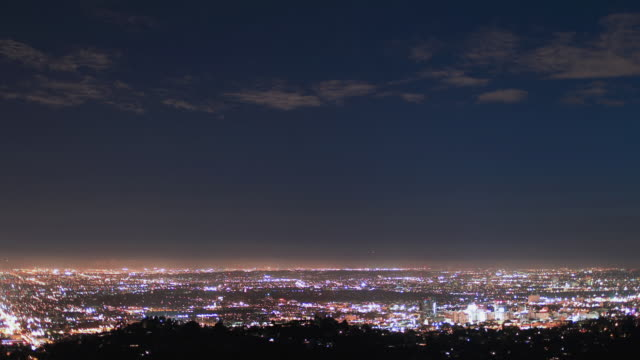 T/L WS PAN Hollywood to downtown Los Angles twilight to night / Los Angeles, California, USA