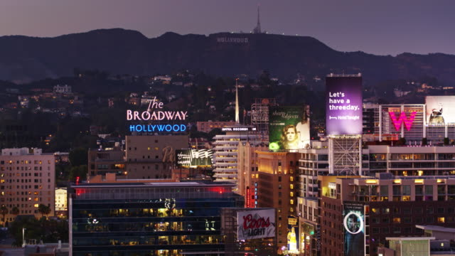 hollywood & vine at night - aerial view - international landmark stock videos & royalty-free footage