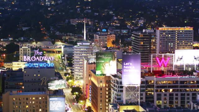 hollywood & vine, los angeles, california - aerial view - カリフォルニア州ハリウッド点の映像素材/bロール
