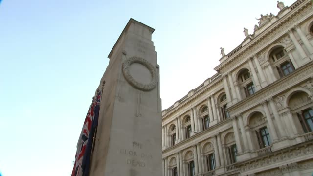 Holocaust memorial design announced LIB / London Whitehall The Cenotaph with poppy wreaths at base