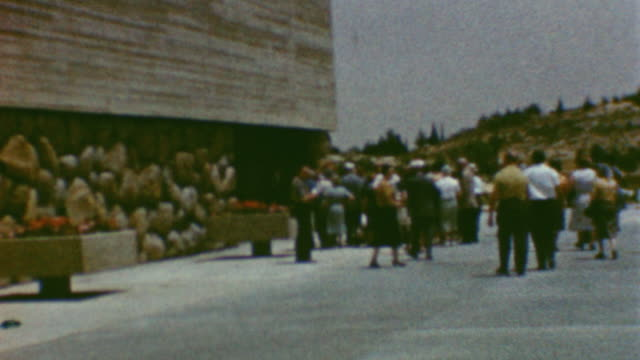 holocaust remembrance day / setting up podium for ceremony / yad vashem on may 01 1962 in jerusalem israel - third reich stock videos & royalty-free footage