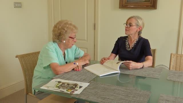 Holocaust survivor Eva Schloss interview ENGLAND London INT Eva Schloss and Paula Fouce chatting