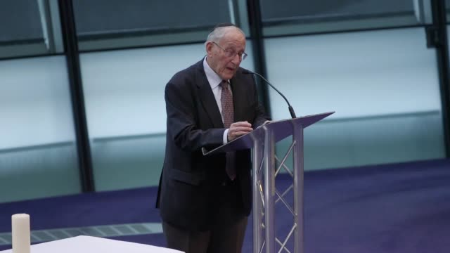 Holocaust survivor Manfred Goldberg gives a vivid recalling of his experiences in Nazi concentration camps at the Holocaust Memorial ceremony in City...