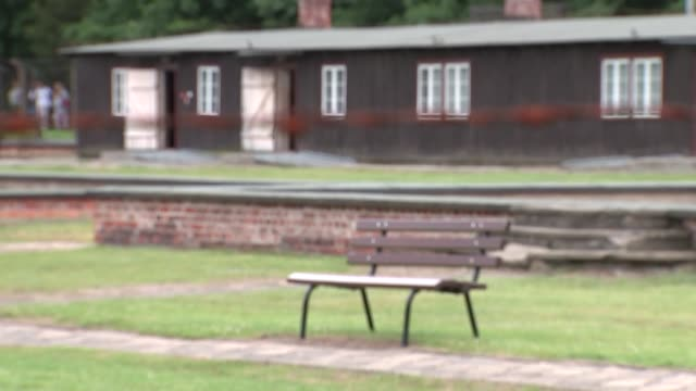 holocaust survivors interview / duke and duchess of cambridge visit stutthof concentration camp poland stutthof concentration camp ext gvs of... - olocausto video stock e b–roll