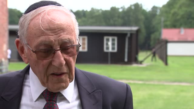 holocaust survivors interview / duke and duchess of cambridge visit stutthof concentration camp zigi shipper and manfred goldberg interview sot re... - survival stock videos & royalty-free footage