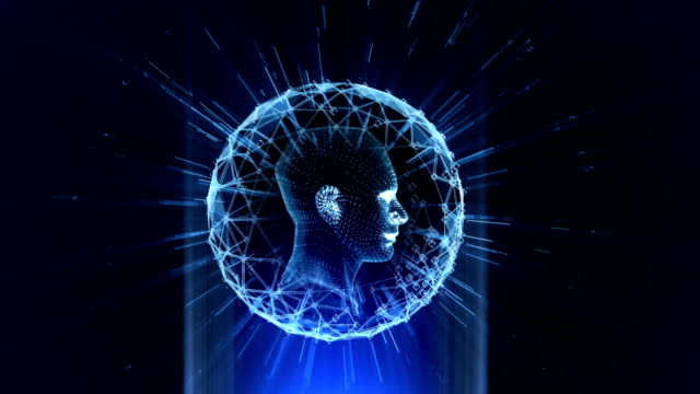 hologram head blue - male likeness stock videos & royalty-free footage