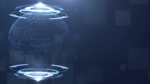 vídeos y material grabado en eventos de stock de holograma de la tierra en hud, fondo de tecnología - holograma