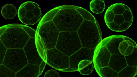 vídeos y material grabado en eventos de stock de holograma pelotas de fútbol - holograma
