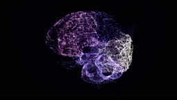 Holographic brain. Glowing particles with data stream