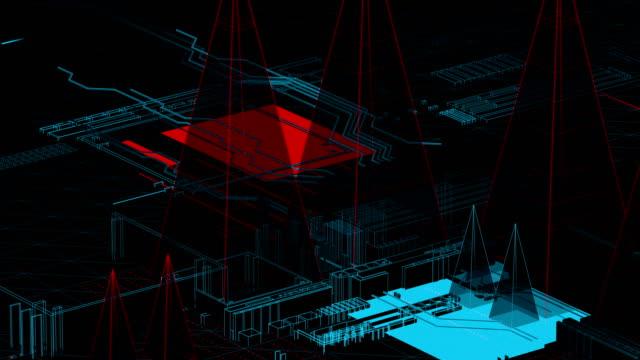 vidéos et rushes de ville holographique sur un conseil de mère - holographie