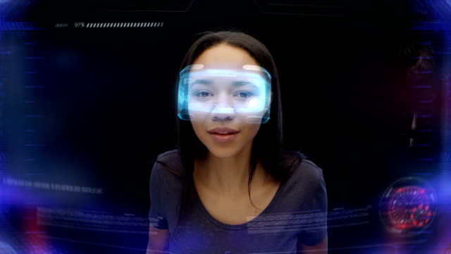 holographic glasses. curious woman frowning looking at imaginary, fascinating object - holographic stock videos and b-roll footage