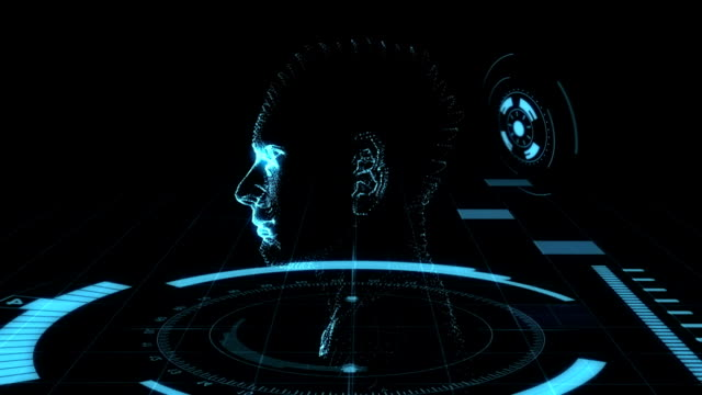 holographic head animation - head stock videos & royalty-free footage