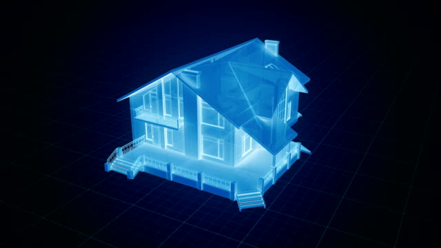 holographic house being build on a grid in blue tone - costruire video stock e b–roll