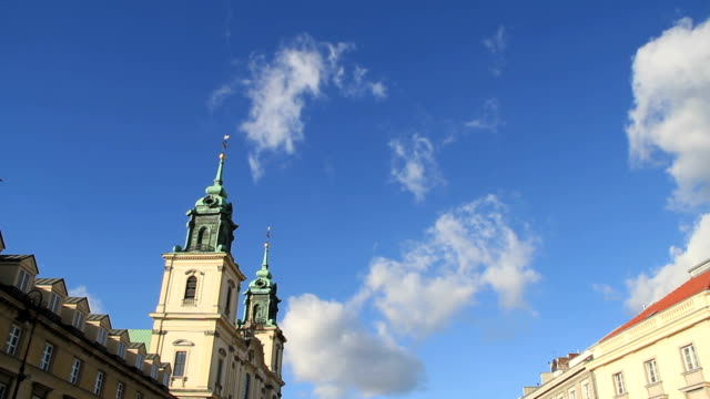 holy cross church and market square, warsaw poland - warsaw stock videos & royalty-free footage