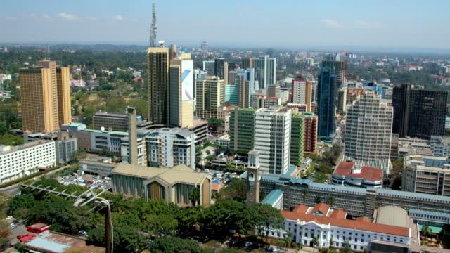 holy family minor basilica  city hall & skyscrapers nairobi  kenya  africa - nairobi stock videos and b-roll footage