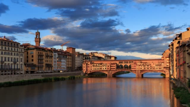 4k holy grail time lapse of ponte vecchio in florence italy - ponte stock videos & royalty-free footage