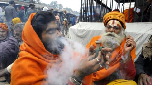 holy men are on a high as nepal lifts its ban on cannabis for the shivaratri festival clean holy men on a high for hindu festival in n on february 27... - religion stock videos & royalty-free footage