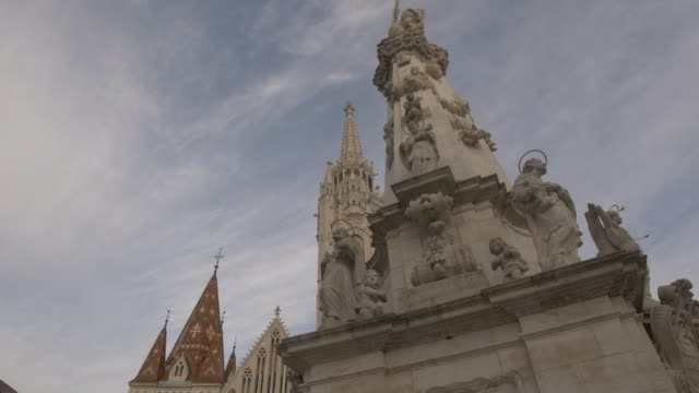 holy trinity statue and matthias church during winter, castle district, unesco world heritage site, budapest, hungary, europe - female likeness stock videos & royalty-free footage