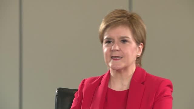 nicola sturgeon interview; ** part 4 of 4 ** scotland: glasgow: int nicola sturgeon msp interview continued sot - re why nobody has lost jobs... - politics video stock e b–roll