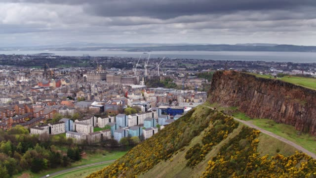 Holyrood Park With View of Edinburgh - Aerial View