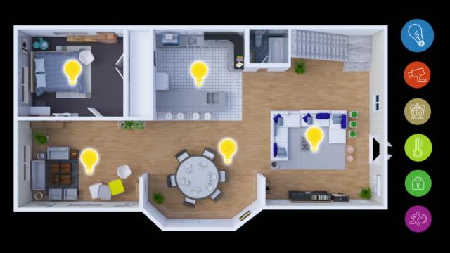 home-automation und smart-home-technologie - lichtsteuerung - internet der dinge stock-videos und b-roll-filmmaterial