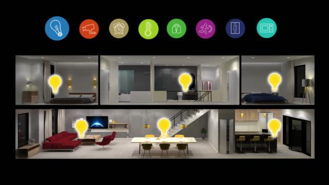 home-automation und smart-home-technologie - lichtsteuerung - haushaltsmaschine stock-videos und b-roll-filmmaterial