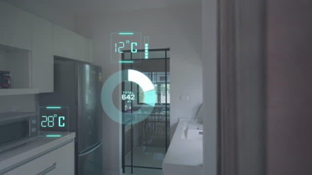 vídeos de stock e filmes b-roll de home automation and smart home technology - temperature control - calor