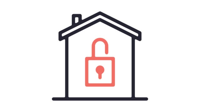 home automation system line icon animation with alpha - security stock videos & royalty-free footage