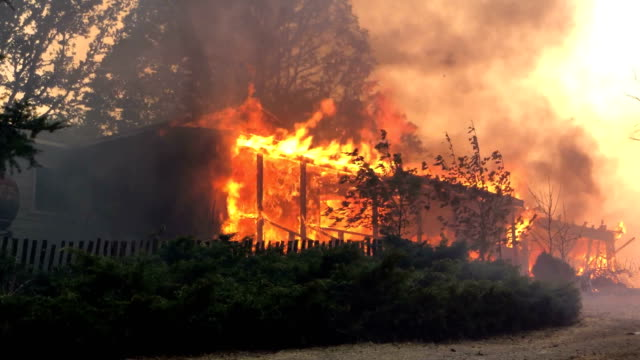 A home burns as the River Fire moves through the area on July 31 2018 in Lakeport California The River Fire has burned over 31000 acres destroyed at...