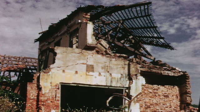 home destroyed by viet cong shelling / go boi, vietnam - stationary process plate stock videos & royalty-free footage