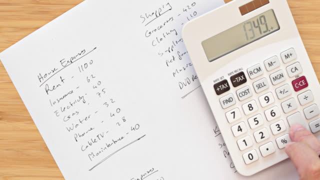 ホーム金融-計算支出(月次 - 出費点の映像素材/bロール