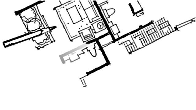 Home floor plan, watercolor & pencil freehand sketch