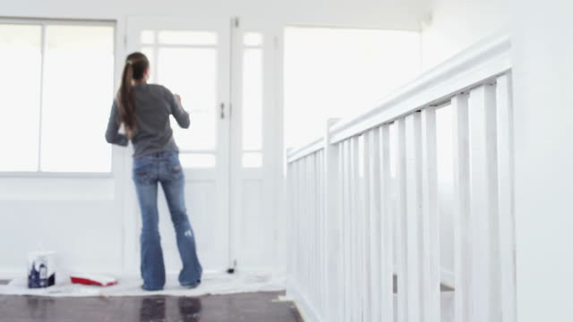 home improvements: painting - white doorway stock videos & royalty-free footage