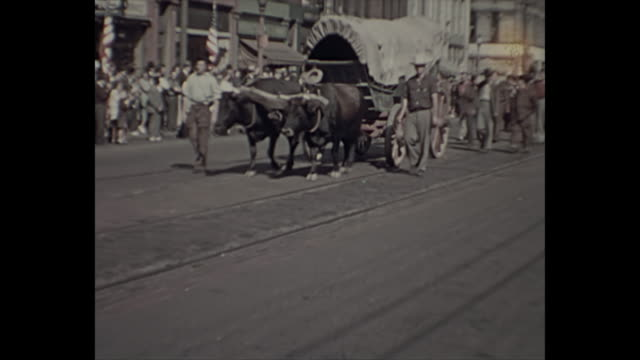 1938 Home Movie - 4th of July Parade - People dressed up as early pioneers