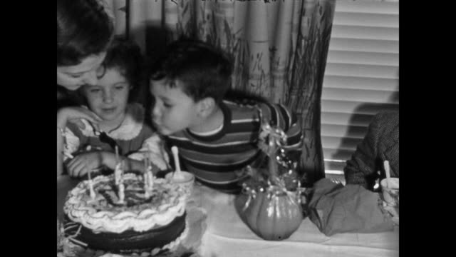1946 home movie - 5 year old boy's birthday party - birthday stock videos & royalty-free footage