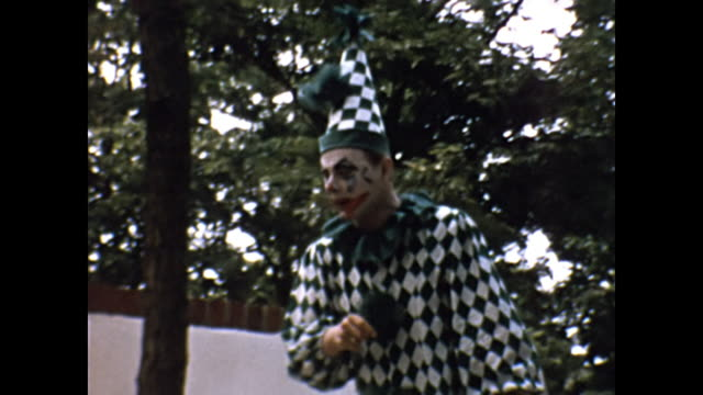 1954 home movie - clown at children's birthday party - clown stock videos & royalty-free footage