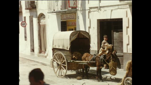 home movie footage featuring a donkey cart being loaded with hay or straw on sunny morning in the spanish seaside town of sitges circa august 1958 - the spanish donkey stock videos & royalty-free footage