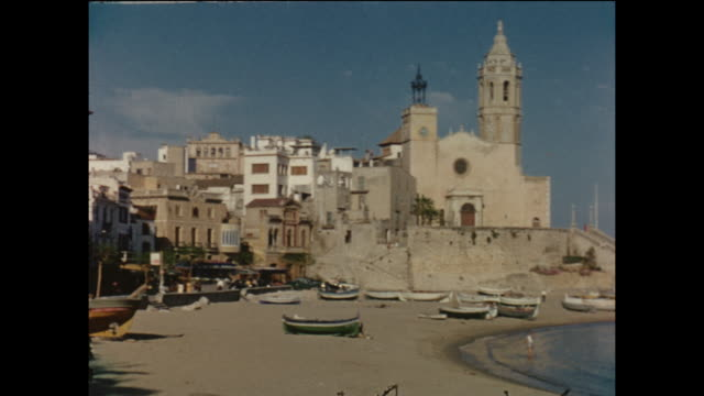 Home movie footage from the town of Sitges in Spain circa August 1958