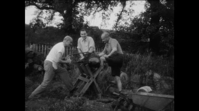 home movie footage of a group of men sawing wood on an english farm in the 1930s. - wood material stock videos & royalty-free footage