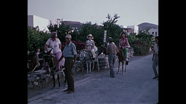 1969 Home Movie Greece - Tourists riding donkeys