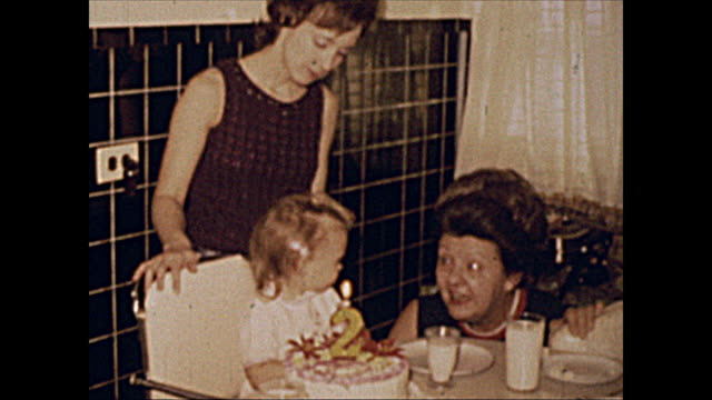 1972 Home Movie of 2 year old girl with birthday cake, Mother and Grandmother