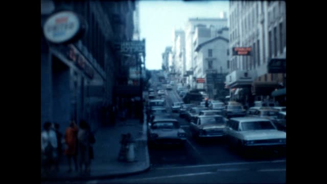 vidéos et rushes de home movie perspective of a vacation to san francisco in the late 1960's / corner of ellis and powell bernstein's fish grotto - california street san francisco