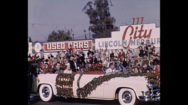 home movie richard nixon and wife pat in tournament of roses parade - richard nixon stock-videos und b-roll-filmmaterial