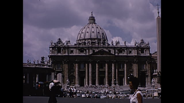 1964 home movie - st. peter's basilica rome, italy - pope stock videos & royalty-free footage