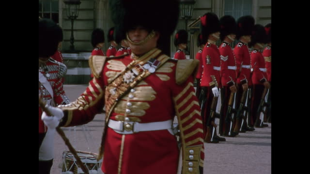 1965 home movie - trip to london - coldstream guards - buckingham stock videos & royalty-free footage