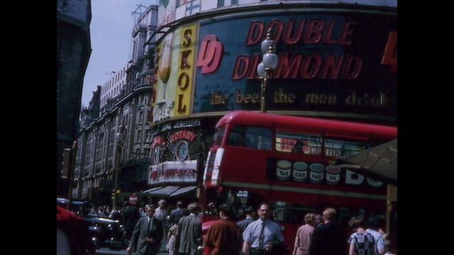 1965 home movie - trip to london - piccadilly circus - double decker bus stock videos & royalty-free footage
